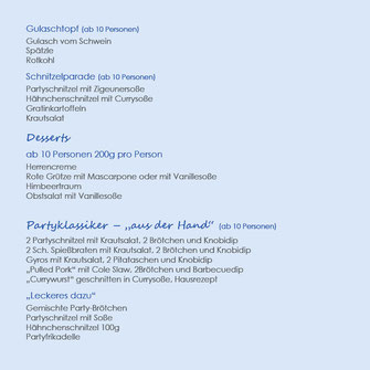 Laschkes IDEEN FÜR IHR PARTYESSEN Gulasch, Gulaschtopf, Schnitzel, Dessert, Party, Gyros, Pulled Pork, Currywurst, Frikadelle,