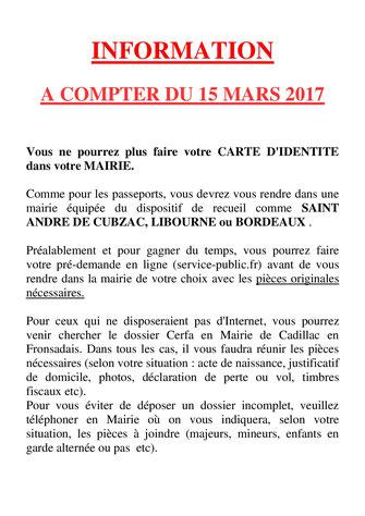 Carte d 39 identit mairie de cadillac en fronsadais - Mairie de guilherand granges etat civil ...