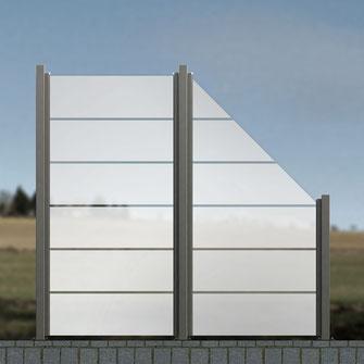 Zaun aus Glas satiniert mit Linien