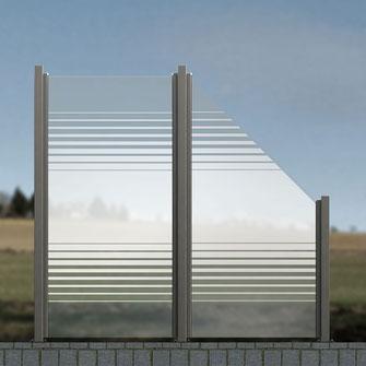 Windschutz aus Glas satiniert