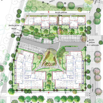 Projet paysager pour un îlot résidentiel à Amiens