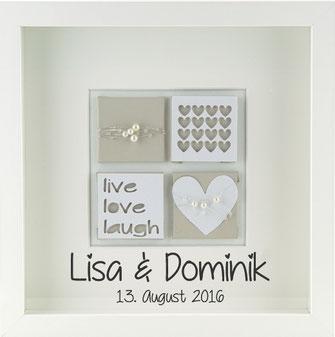 personalisiertes Hochzeitsgeschenk Hochzeitsbild live love laugh beige, Hochzeitsdekoration