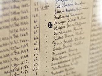 Detail im Kloster, handgeschriebenes Dokument