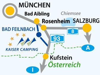 Verkehrsgünstige Lage vom Campingplatz Kaiser Camping in Bayern, Bad Feilnbach