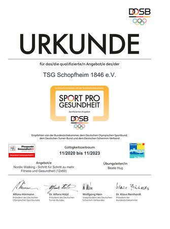 Urkunde DOSB Nordic Walking