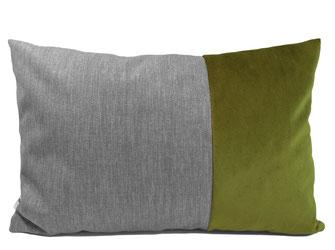Kissen grau grün Polyester & Samt