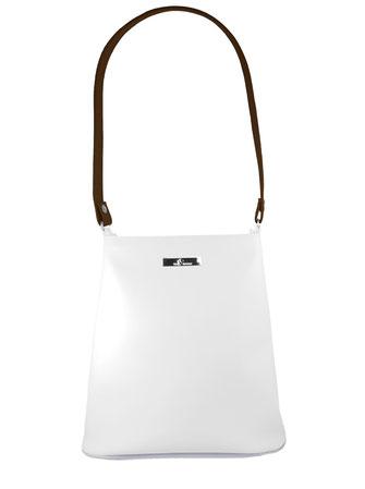 weiß-kastanienfarbene Kindertasche / puristischer Stil