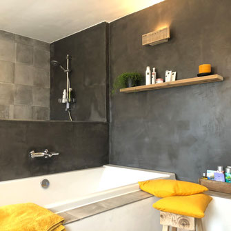 Betonlook badkamer donkergrijs