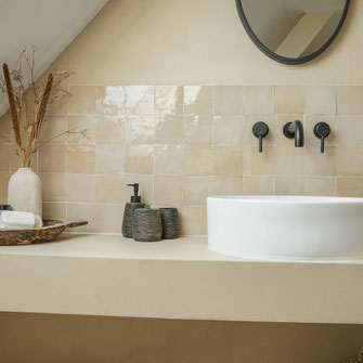 Badkamer beton cire zandtint