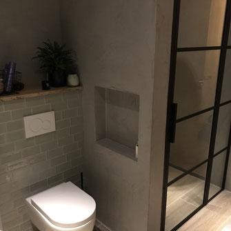 Industriele badkamer beton cire