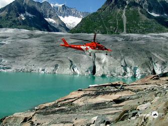 Helikopter, Rega, Gletscher, See, Berge