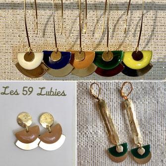 Boucles d'oreilles pour femmes pour oreilles percées crochets d'oreilles doré ou argenté demi- cercle émaillé sur sequin métal diamanté