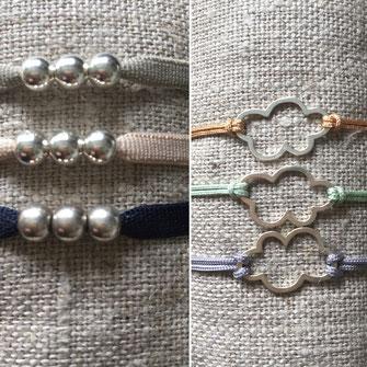 3 perles en argent 925 montées en bracelet sur élastique, et nuage en argent monté en bracelet sur fil jade ajustable avec fermoir argent