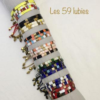 Bracelet des 59 lubies en perles japonaises ajustable composé de perles japonaises colorés agrémenté de perles en hématite doré.