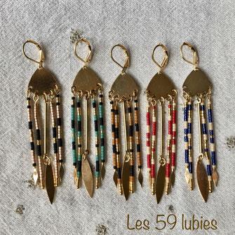 Tiges de perles miyuki sur intercalaire doré et dormeuse pour femmes à oreilles percées ou non percées