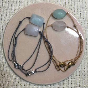 Pierre de quartz rose et d'amazonite ovales ou rectangles montées en bracelet pour femmes sur fil de jade réglables avec fermoirs