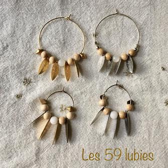 Créoles perles bois, porcelaine, pierre de lave et navettes métal laiton