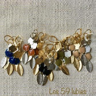 2 hexagones métal diamanté et émaillé coloré, avec palme diamantée, doré, argenté ou bronze, possible en clips pour oreilles non percées