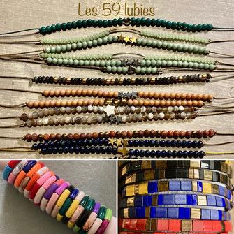 Bracelets perles japonaises, perles alphabets personnalisés réglables, et bracelets composés de perles en pierre naturelle montés sur élastique