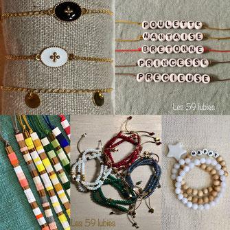 Bracelets pour femmes fantaisie avec perles de bois ou pierre de gemme sur élastique, ou en argent et plaqué or sur fils de jade ou sur chaîne réglables avec fermoirs