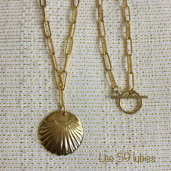 Colliers à mailles rectangles avec sequin doré or fin, ou finition fermoir en T doré à l'or fin