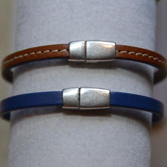 Bracelets pour femmes et homme en cuir avec un fermoir argenté aimanté