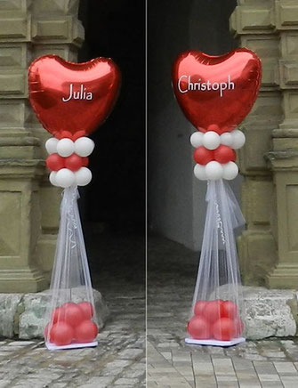 Ballon Luftballon Ständer Dekoration Deko Hochzeit Eingang Herzen Ballonständer elegant modern personalisiert mit Namen Brautpaar