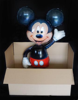 Ballongrüße Karton aus der Box Ballongrüsse Ballongruß Ballonüberraschung Folienballon Luftballon Airwalker Heliumballon Versand verschicken Post Paket Glückwunsch Ballon Mickey Mouse Geburtstag Hochzeit Geburt Kommunion Helium schwebt Versand