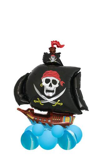 Luftballon Dekoration Deko Bouquet Pirat Piratenschiff Totenkopf Geburtstag Party Kindergeburtstag Herz mit Namen personalisiert individualisiert beschriftet Versand Mitbringsel Junge Mädchen