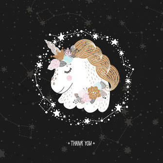 Unicorn Thank you Star Illustration