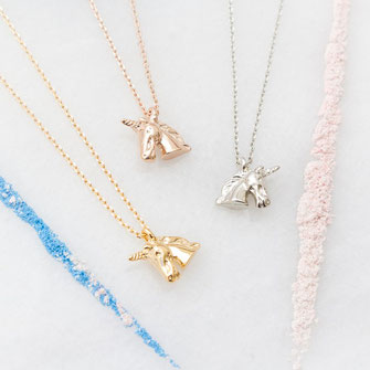 Unicorn Necklaces in Silver, gold and rose-gold colour