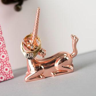 Rose Gold Unicorn Ring Holder