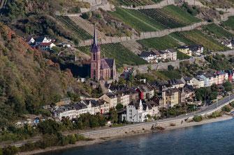 Lorch am Rhein mit Blick auf die kath. Kirche