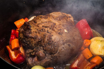 Kleftiko - Lammbraten angebraten mit Gemüse