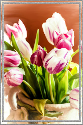 Tulpen in der Vase - digitales painting-gerahmt