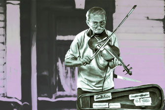 The Fiddler-Geigenspieler Smudge Painting blacklight