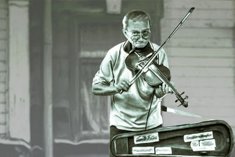 The Fiddler-Geigenspieler Smudge Painting-monochrome
