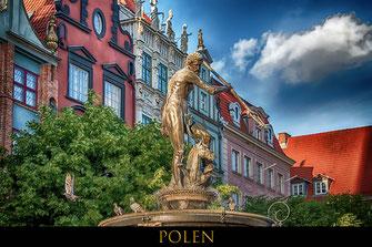 Neptunbrunnen in Danzig-Reisefotografie Europa-Polen