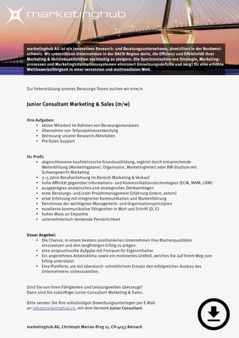 Junior Consultant Marketing & Sales (m/w)