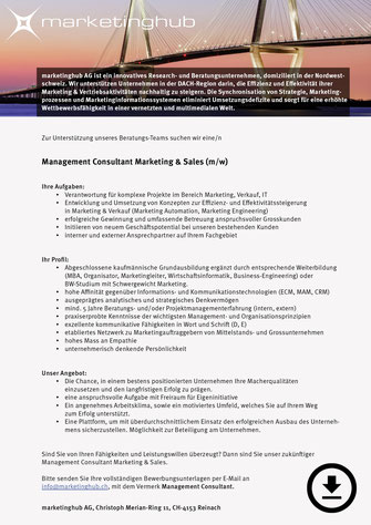Management Consultant Marketing & Sales (m/w)