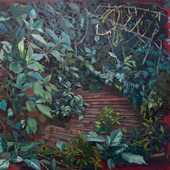 SABINE BEYERLE, INTO THE GREEN, 2020, Öl auf Leinwand, 50 x 50 cm, € 1.700,--