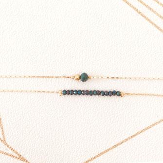 bracelet doré plaqué or fin Gwwapita bijoux créatrice française france vert