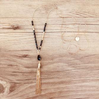 sautoir gwapita fin bijoux noir chaine fine perle pompon doré or plaqué or collier long