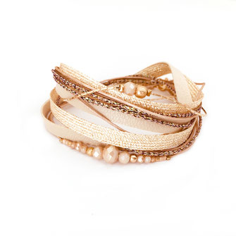 bracelet doré plaqué or fin Gwapita bijoux créatrice française france Fernando beige manchette rubans