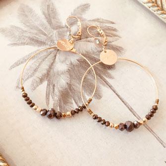 Chloé gwapita boucles d'oreilles earrings earring marron choco ronde creoles perle