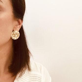 boucles d'oreilles doré puce plaquée or dentelle gwapita ronde