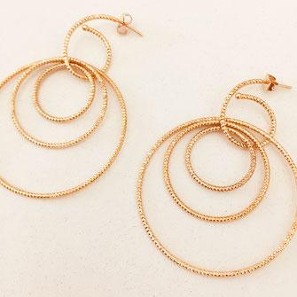 gwapita boucles d'oreilles rosie anneaux sculpté strié rondes