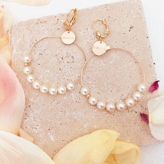 gwapita boucles d'oreilles bijoux création doré  anita nacré perles d'eau douce