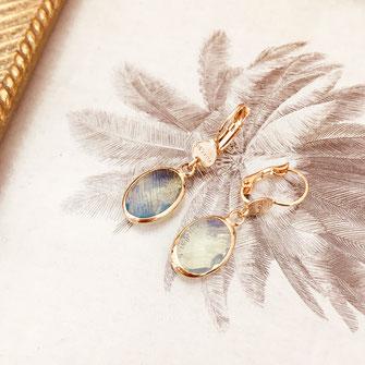 gwapita boucles d'oreilles bijoux création doré giorgia vert d'eau ciel