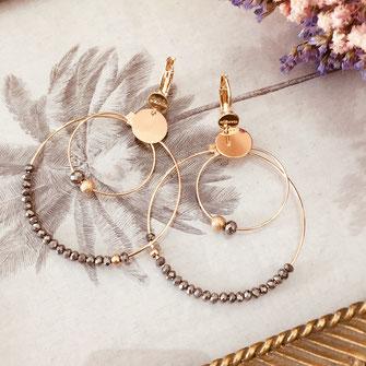 boucles d'oreilles Olivia  créoles anneaux deux doubles doré perles gwapita grises gris